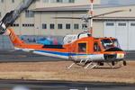 へりさんが、東京ヘリポートで撮影した新日本ヘリコプター 204B-2(FujiBell)の航空フォト(写真)