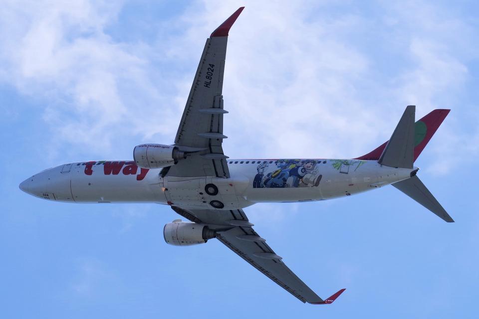 yabyanさんのティーウェイ航空 Boeing 737-800 (HL8024) 航空フォト