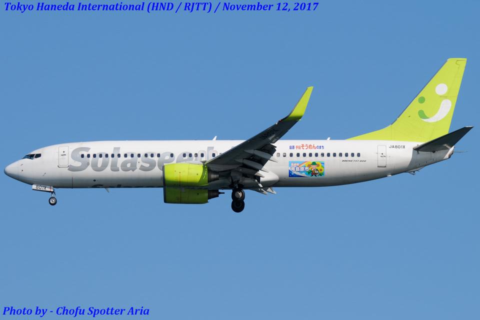 Chofu Spotter Ariaさんのソラシド エア Boeing 737-800 (JA801X) 航空フォト