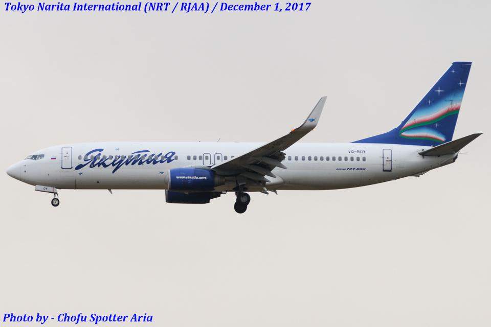 Chofu Spotter Ariaさんのヤクティア・エア Boeing 737-800 (VQ-BOY) 航空フォト