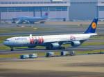ひとつぼし / 航空YouTuberさんが、羽田空港で撮影したルフトハンザドイツ航空 A340-642Xの航空フォト(飛行機 写真・画像)