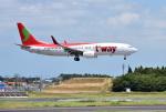 mojioさんが、成田国際空港で撮影したティーウェイ航空 737-8ASの航空フォト(写真)