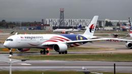 誘喜さんが、ロンドン・ヒースロー空港で撮影したマレーシア航空 A350-941XWBの航空フォト(写真)