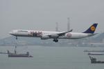 神宮寺ももさんが、香港国際空港で撮影したルフトハンザドイツ航空 A340-642の航空フォト(写真)