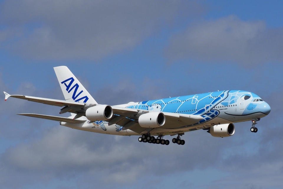 飛行機ゆうちゃんさんの全日空 Airbus A380 (JA381A) 航空フォト