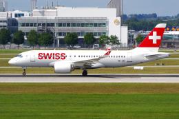 PASSENGERさんが、ミュンヘン・フランツヨーゼフシュトラウス空港で撮影したスイスインターナショナルエアラインズ BD-500-1A10 CSeries CS100の航空フォト(飛行機 写真・画像)