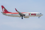 mameshibaさんが、成田国際空港で撮影したティーウェイ航空 737-8KNの航空フォト(飛行機 写真・画像)