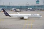 ちゃぽんさんが、ミュンヘン・フランツヨーゼフシュトラウス空港で撮影したルフトハンザドイツ航空 A350-941の航空フォト(飛行機 写真・画像)