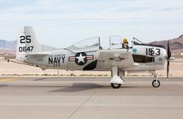 (新)ふぁんとむ改さんが、ネリス空軍基地で撮影したアメリカ個人所有 T-28C Trojanの航空フォト(飛行機 写真・画像)