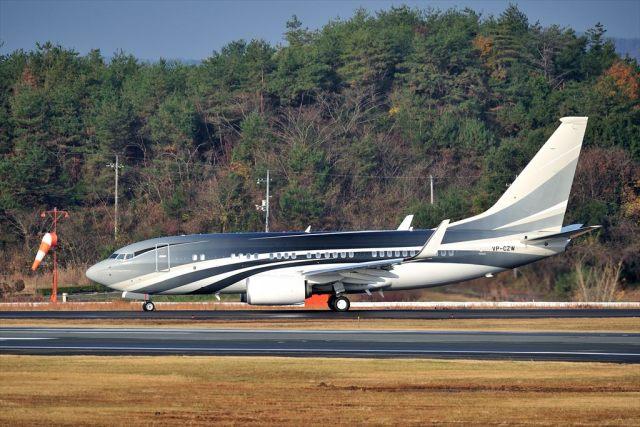 撮り撮り人さんが、岡山空港で撮影したケイマン諸島企業所有 737-7JW BBJの航空フォト(飛行機 写真・画像)