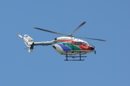 赤ちんさんが、カシマサッカースタジアム駐車場で撮影した茨城県防災航空隊 BK117C-2の航空フォト(飛行機 写真・画像)