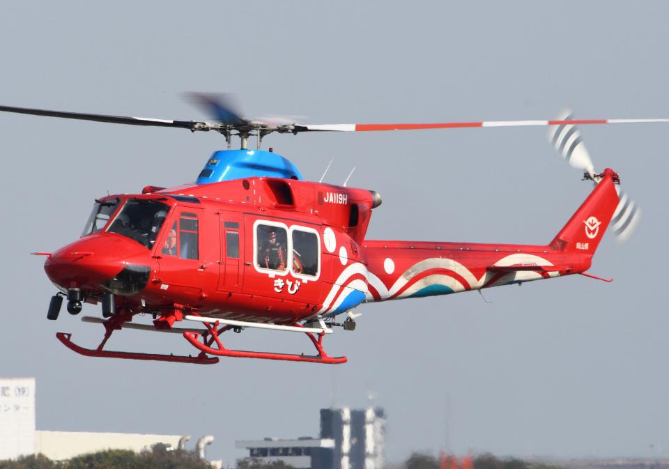 ほてるやんきーさんの岡山県消防防災航空隊 Bell 412 (JA119H) 航空フォト