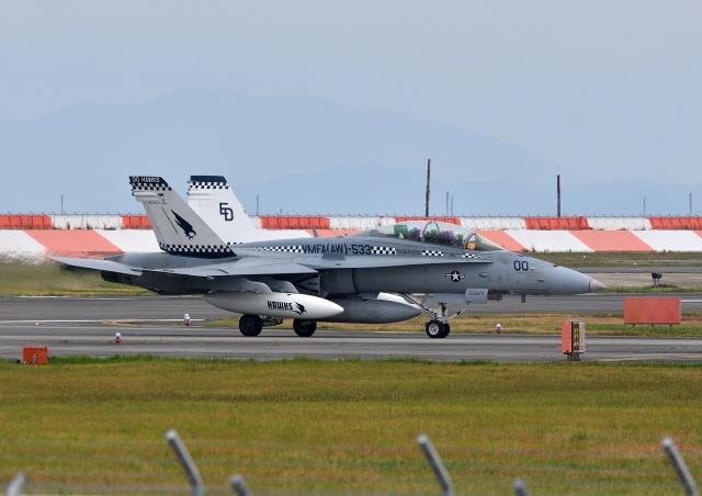 おこじょさんが、岩国空港で撮影したアメリカ海兵隊 F/A-18D Hornetの航空フォト(飛行機 写真・画像)