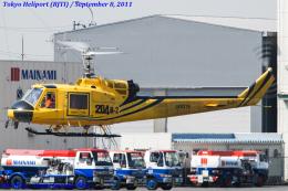 Chofu Spotter Ariaさんが、東京ヘリポートで撮影したアカギヘリコプター 204B-2(FujiBell)の航空フォト(飛行機 写真・画像)