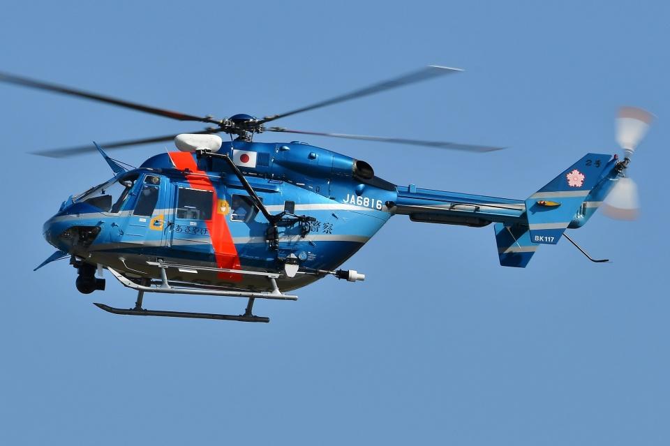 ブルーさんさんの愛知県警察 Kawasaki BK117 (JA6816) 航空フォト