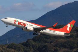 三軒 那乃さんが、福岡空港で撮影したティーウェイ航空 737-8Q8の航空フォト(飛行機 写真・画像)