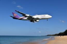 こじゆきさんが、プーケット国際空港で撮影したタイ国際航空 747-4D7の航空フォト(飛行機 写真・画像)