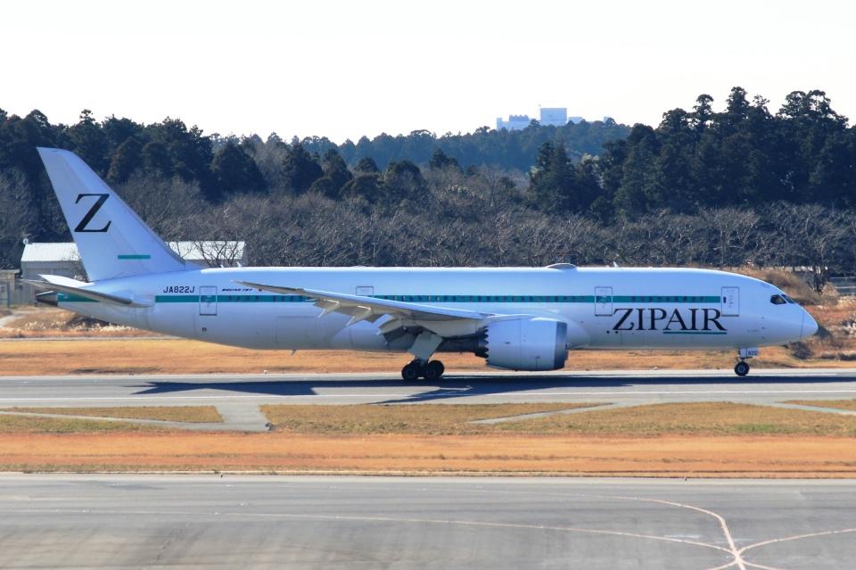 Hiro-hiroさんのZIPAIR Boeing 787-8 Dreamliner (JA822J) 航空フォト