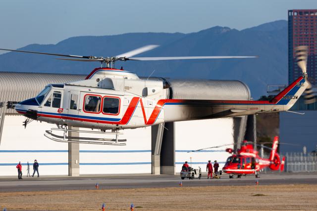 (新)ふぁんとむ改さんが、奈多ヘリポートで撮影した西日本空輸 412EPの航空フォト(飛行機 写真・画像)