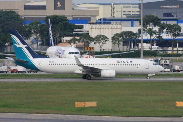 wunalaさんが、シンガポール・チャンギ国際空港で撮影したシルクエア 737-8SAの航空フォト(飛行機 写真・画像)