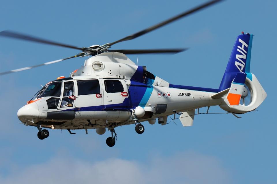 ブルーさんさんのオールニッポンヘリコプター Aerospatiale SA365/AS365/565 Dauphin 2 (JA63NH) 航空フォト