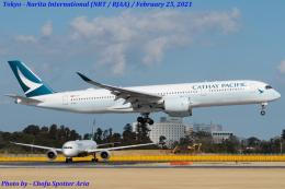 Chofu Spotter Ariaさんが、成田国際空港で撮影したキャセイパシフィック航空 A350-941の航空フォト(飛行機 写真・画像)
