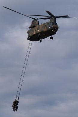 木人さんが、習志野演習場で撮影した陸上自衛隊 CH-47Jの航空フォト(飛行機 写真・画像)