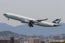 遠森一郎さんが、福岡空港で撮影したキャセイパシフィック航空 A340-313Xの航空フォト(飛行機 写真・画像)