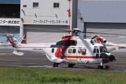 KAZFLYERさんが、東京ヘリポートで撮影した朝日航洋 AS332L1 Super Pumaの航空フォト(飛行機 写真・画像)