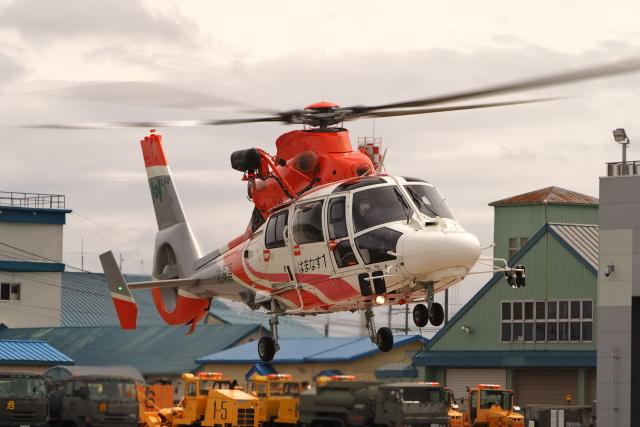 ここはどこ?さんが、札幌飛行場で撮影した北海道防災航空隊 AS365N3 Dauphin 2の航空フォト(飛行機 写真・画像)