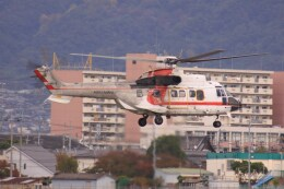 けいとパパさんが、八尾空港で撮影した朝日航洋 AS332L1 Super Pumaの航空フォト(飛行機 写真・画像)