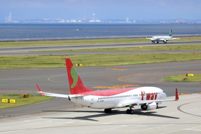 ▲®さんが、中部国際空港で撮影したティーウェイ航空 737-8GJの航空フォト(飛行機 写真・画像)