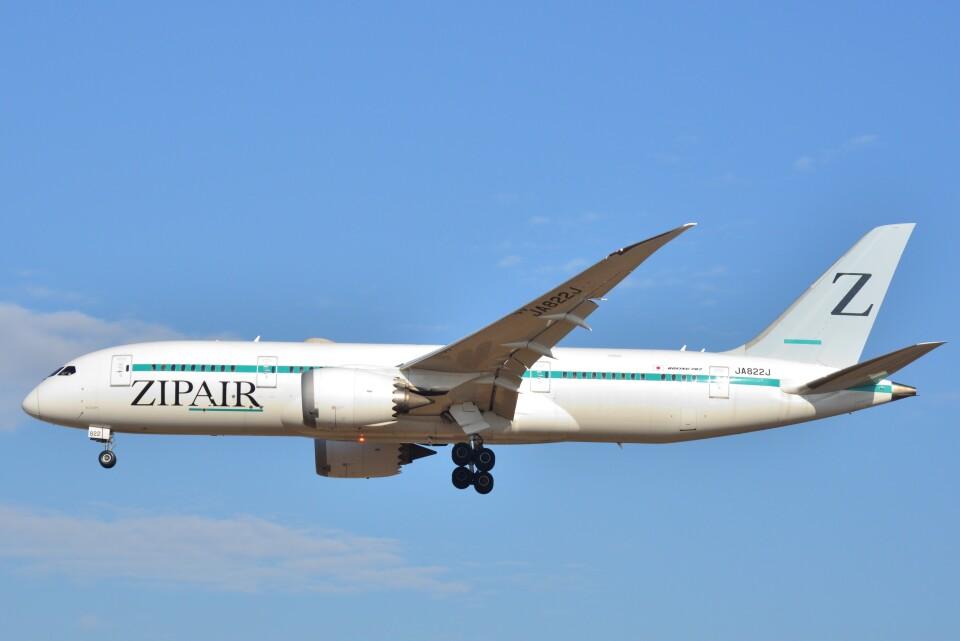 B747‐400さんのZIPAIR Boeing 787-8 Dreamliner (JA822J) 航空フォト