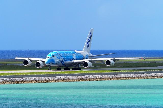 すしねこさんが、那覇空港で撮影した全日空 A380-841の航空フォト(飛行機 写真・画像)
