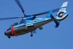 へりさんが、朝日川越ヘリポートで撮影した福岡県警察 AS365N2 Dauphin 2の航空フォト(写真)
