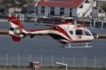 へりさんが、舞洲ヘリポートで撮影した読売新聞 EC135P2の航空フォト(写真)
